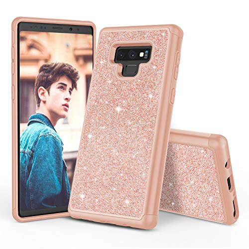 TILL for Galaxy Note 9 Case, TILL Luxury [Sparkle Sequins] Note 9 Bling Shiny Color Glitter Girls Case Dual Layer TPU Soft Inner Hard PC Protective Cute Case Cover Shell for Samsung Note 9 [Rose Gold]
