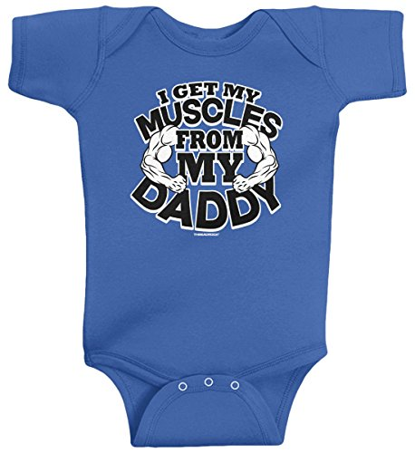 - Threadrock Baby Boys' I Get My Muscles from Daddy Infant Bodysuit 6M Royal Blue