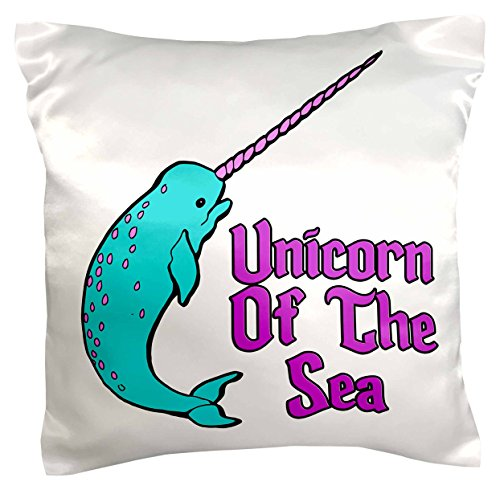 3dRose pc_116362_1 Funny Cute Narwhal Unicorn of The Sea Fantasy Animal Design-Pillow Case, 16 by 16