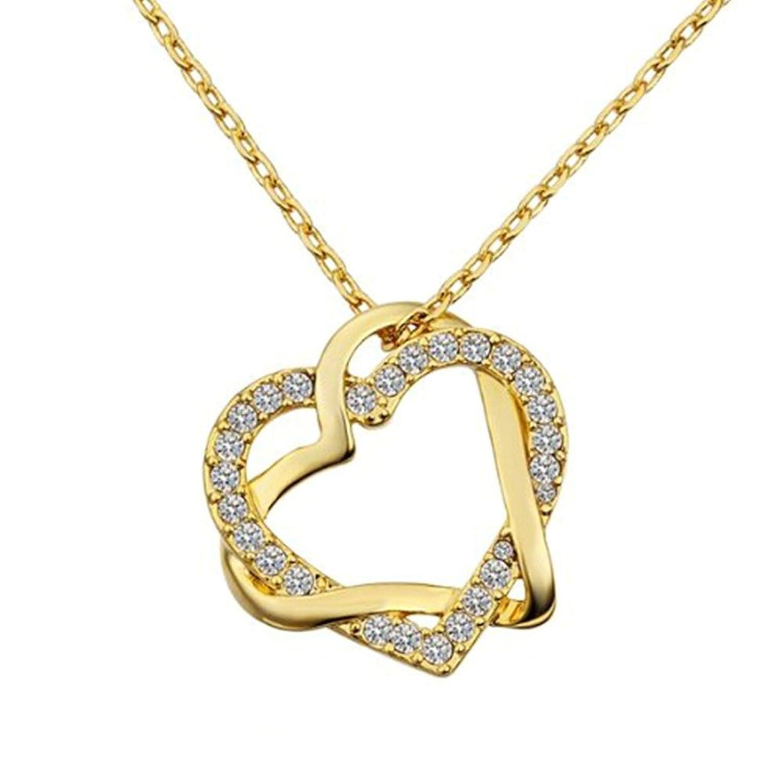 AnaZoz Joyería de Moda Colgante Collar Doble Corazón Entrelazado Cristal Oro Chapado