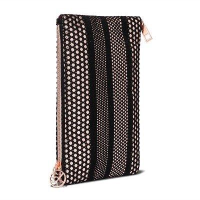 Sonia Kashuk153; Cosmetic Bag 2-Zip Purse Kit Mesh with Metallic Black