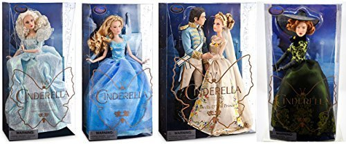"""Cinderella Live Action Movie Doll Set Disney Complete Film Collection 11"""" Dolls Features Wedding Set w/ Prince Charming, Blue Ball Gown, Fairy God Mother and Evil Stepmother Step Mom Lady (Evil Doll Costume)"""