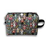 Nutcracker Ballet Christmas Cosmetic Bags Travel Organizer Pencil Case Portable Storage Pouch Tote Bag Make-up Travel Bag Lightweight Hanging Zipper Tool Bag For Womens Big Girls Men Gifts