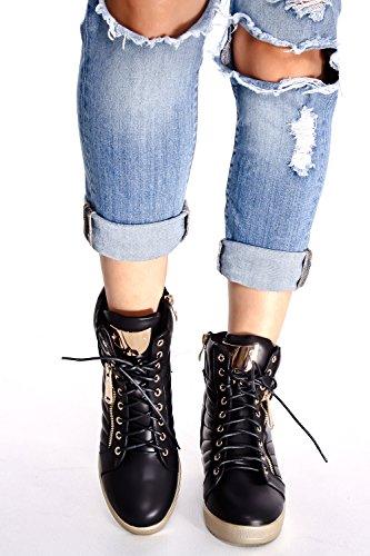 Lolli Couture Jp Materiale In Pelle Scamosciata Originale Cinghie Velcro Accento Oro Sneakers Casual Con Zeppa Nero-rumble-15