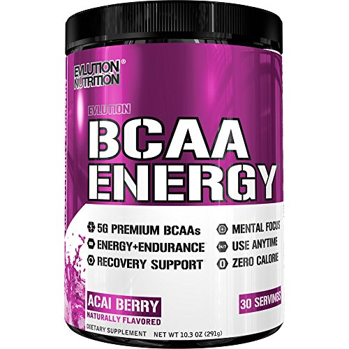 Evlution Nutrition BCAA Energy – High Performance, Energizing Amino Acid Supplement for Muscle Building, Recovery, and Endurance (Acai Berry, 30 Servings)