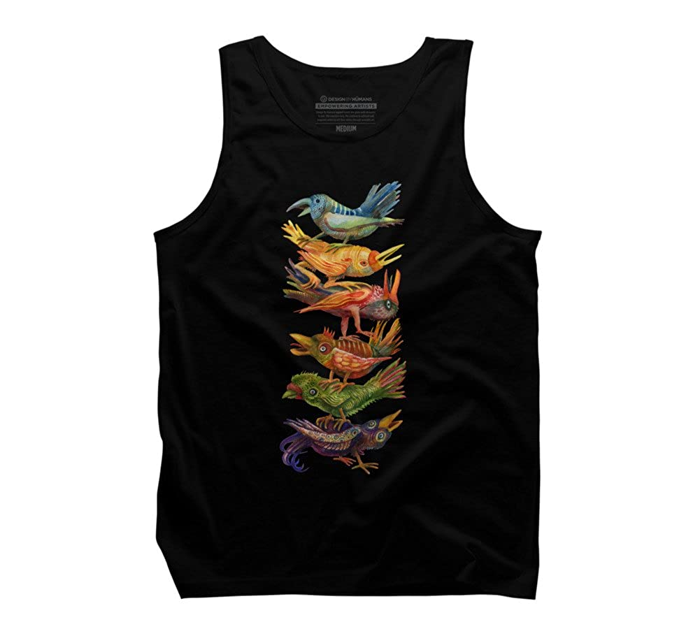 Design By Humans Six Birds Stacked Mens Graphic Tank Top