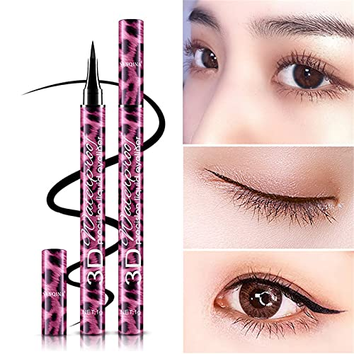 4D Silk Fiber Mascara & Eyeliner Set, Smudge-proof And Waterproof, Thickens Eye Makeup And Length, Black Mascara and EyeLiners10ml (Multicolor)