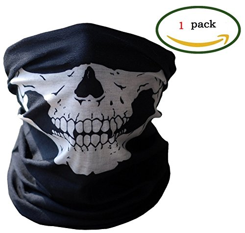 Belle Stretch Costumes (New Brand Mall Seamless Skull Mask Design Case For Motorcycle Half Face Mask Headwear(Black, Pack of 1))
