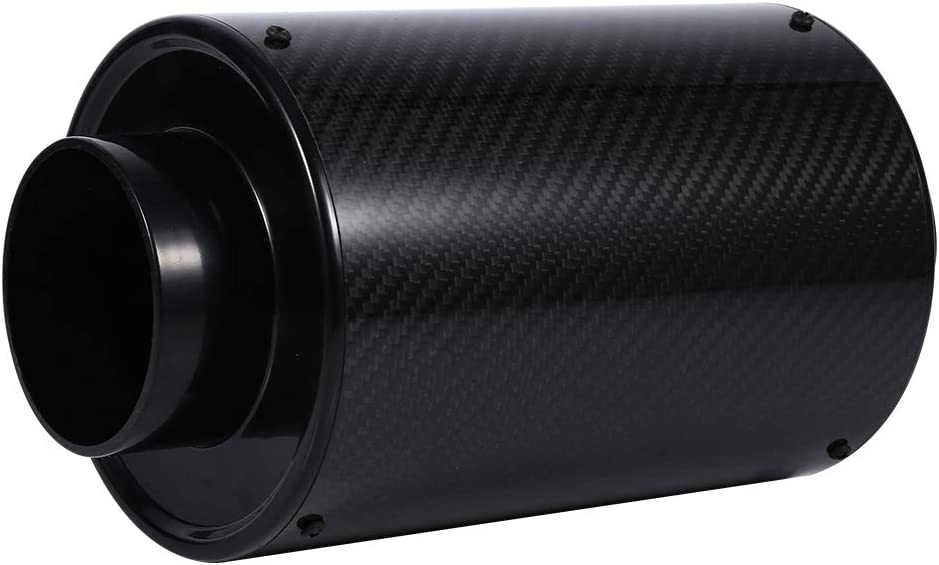 Qiilu Intake Air Filter Universal Car 3 Carbon Fiber Cold Air Filter Feed Enclosed Intake Induction Pipe Hose Kit