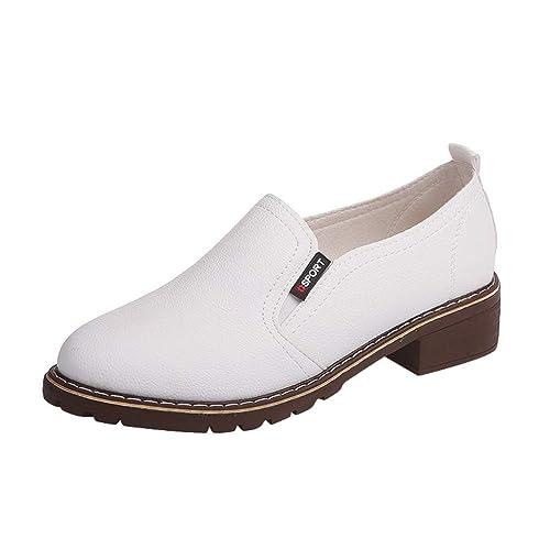 Zapatos de Damas para Mujer Moda Tobillo Plana Oxford de Cuero Botas Cortas Ocasionales Suave holgazán Informal Botas Chelsea Zapatillas Moda Zapatos de ...