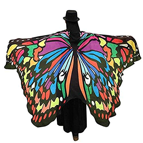 Shireake Baby Halloween/Party Prop Soft Fabric Butterfly Wings Shawl Fairy Ladies Nymph Pixie Costume Accessory ... (197 x 130CM, Multicoloured)