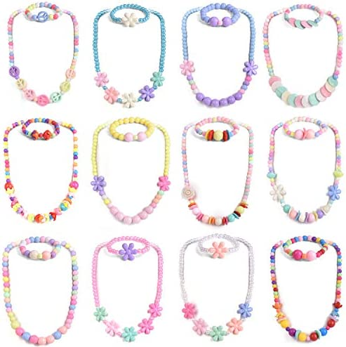 FUN LITTLE TOYS Toddler Jewelry for Girls Kids Jewelry Set Play Bracelets Dress Up Necklaces for Party Favors Classroom Prizes Goodie Bags