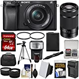 Sony Alpha A6300 4K Wi-Fi Digital Camera & 16-50mm & 55-210mm Lenses (Black) 64GB Card + Case + Flash + Battery & Charger + Tripod + Filters + Kit