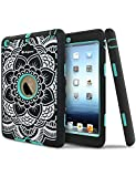 iPad Mini Case,iPad Mini 2 Case,iPad Mini 3 Case, Asgens Ultra Slim Fit Bumper Hard Case 3in1 Shockproof for Apple iPad Mini 1/2/3 [Full Body Protective] Lightweight with Pc & Silicone,Center Aqua