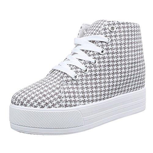 Ital-Design - Zapatillas altas Mujer Weiß Grau