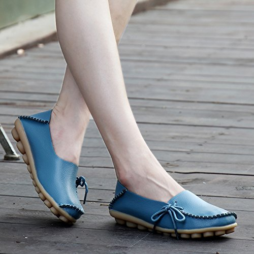 Dear-Queen Womens Genuine Leather Loafers Casual Moccasin Driving Shoes Indoor Flat Slip-On Slippers Blue DIkwoiC