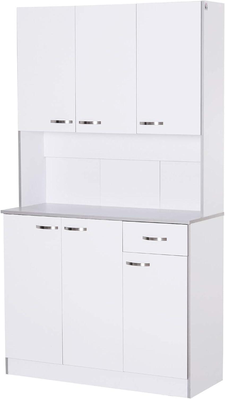 Gabinete de Almacenaje Armario para Cocina de 6 Puertas con Gran Espacio para Microondas con 1 Cajón Estante Ajustable 101x39x180 cm Blanco
