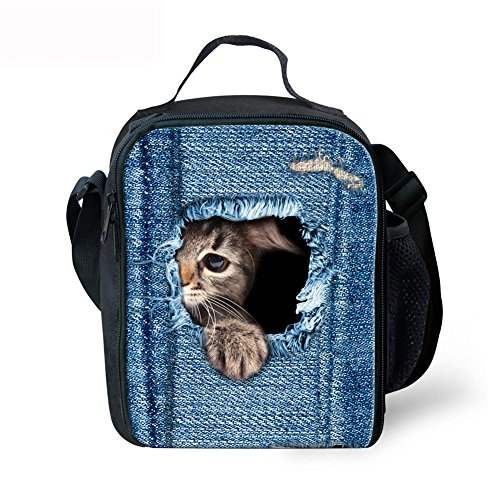 Showcool 3D Printed cute cat Zipper Lunch Bag Polyester Mini Cooler Meal Bag Cool Insulated Lunch Box for Boys Girls Kids Children - Bag Mini Cooler Golf