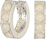 LAUREN Ralph Lauren Women's Glass Pearl Huggie Earrings Silver One Size