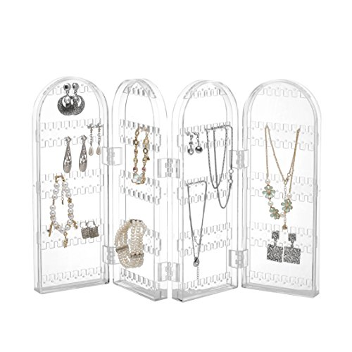 Beautify Jewelry Hanger Organizer - Foldable Acrylic Earring, Necklace & Bracelet Holder Display Stand