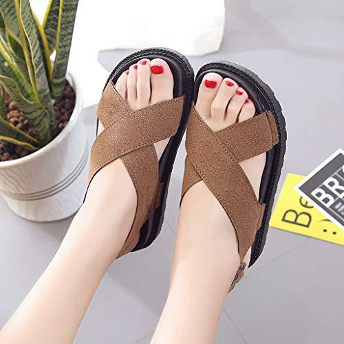 Ocio Zapatos Dedo Moda Sandalias Del Femenina Marrón 2019 Pie Wide De Redondos Fit Antideslizante Plataforma Planos Muffin qIvx0wfI