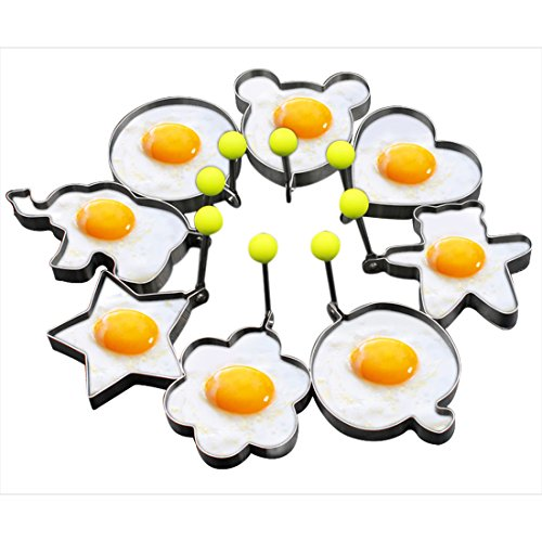 Slomg 8pcs Set Fried Egg Rings Mold Non Stick for Griddle Pan, Egg Shaper Pancake Maker with Handle, Stainless Steel Egg Form for Frying - Rice Egg Fried
