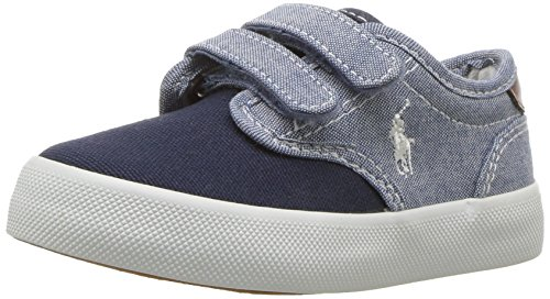 - Polo Ralph Lauren Kids Boys' Lewis EZ Sneaker, Blue Chambray - Navy Canvas, 6.5 Medium US Toddler