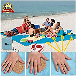 "ABETER Sand Free Beach Mat Blanket (79""×57"") Sand Proof Magic Sandless Sand Dirt & Dust Disappear Fast Dry Easy to Clean Waterproof Rug Avoid Sand Dirt and Grass Keep Everything Clean and Perfect"
