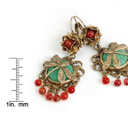 Sweet Romance Dragonfly and Vintage Carved Glass Earrings