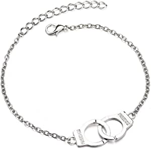 A silver women's anklet with shape of handcuff
