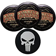 Smokey Mountain Herbal Snuff/Chew - 3ct Straight - Includes DC Skin Can Cover (Punisher Skin)