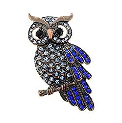 Owl Breastpin With Crystal Diamond
