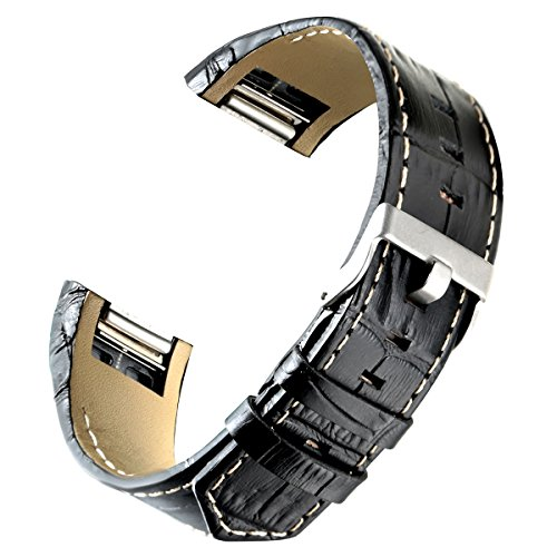 bayite Leather Bands Compatible Fitbit Charge 2, Replacement Accessories Straps Women Men, Black with Line