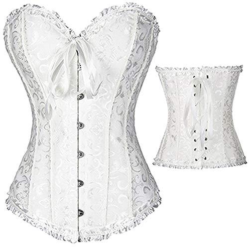 Women Gothic Plus Size Corsets Lace Up Boned Waist Cincher S-6XL,819 White,M -