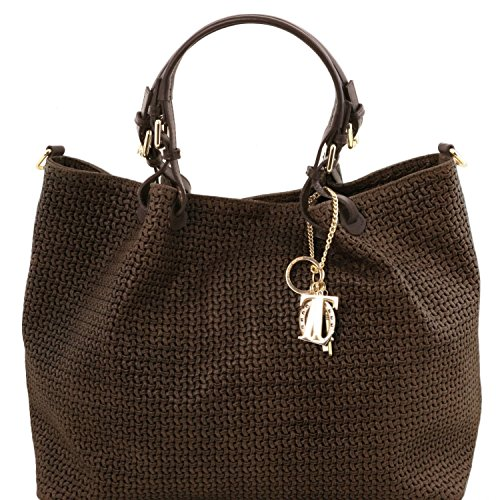 Tuscany Leather TL KeyLuck - Bolso shopping TL SMART en piel imprimida tejida - Tamaño grande - TL141568 (Marrón oscuro) Marrón oscuro