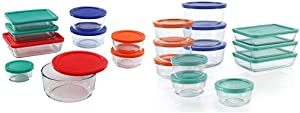 Pyrex Simply Store Meal Prep Glass Food Storage Containers (18-Piece Set, BPA Free Lids, Oven Safe),Multicolored & Simply Store Meal Prep Glass Food Storage Containers (24-Piece Set, BPA Free Lids)