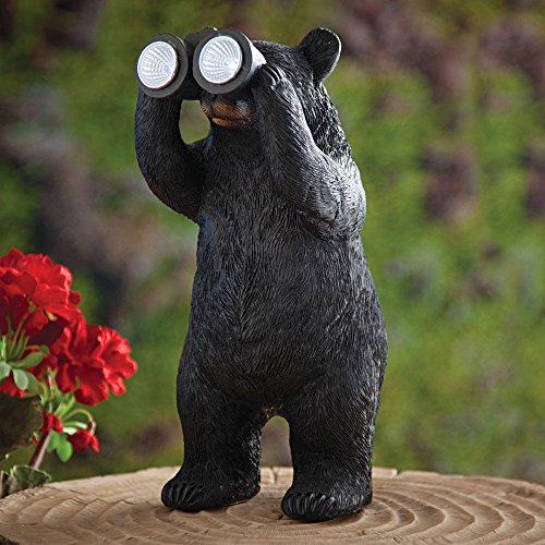 Bits And Pieces Garden Décor Bear With Binoculars Solar Statue For Lawn,  Patio, Yard Or Any Outdoor Area   Realistic, Textured And Durable Polyresin  ...