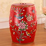 AIDELAI Stool chair European-style Hand-painted Ceramic Drum Stool Shoe Stool Ornaments Neo-classical Dressing Stool Round Stool (30 46cm) Saddle Seat ( Color : F )
