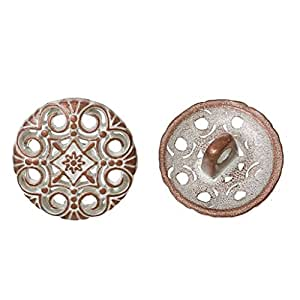 funnytoday vástago botón de metal redonda envejecido cobre único agujero flor blanco aerosol pintado plomo y níquel libre de 15mm de diámetro–20piezas