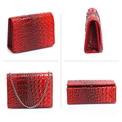 Bag Women Print Large Pattern Size 1 Ladies Clutch Style Burgundy Handbag Animal New Designer Crocodile Purse Design W0U4CqwC