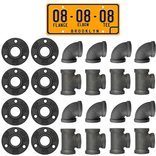 """Brooklyn Pipe 3/4"""" Tees, Elbows, Flanges 8 pack Combo Decorative Iron Piping, Metal Cast Pipe Fittings For DIY Furniture Projects..."""
