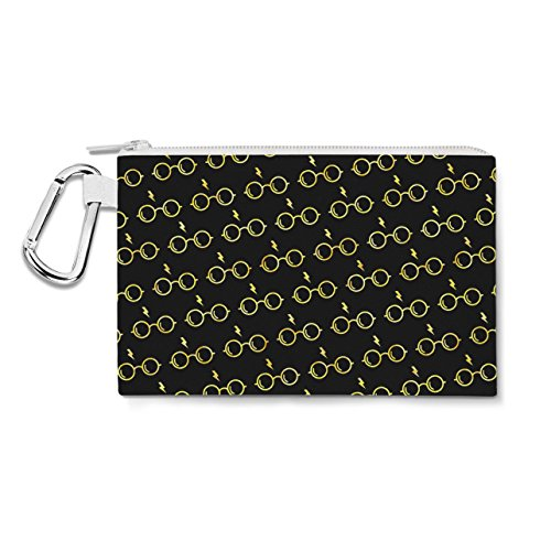 Glasses & Lightning Bolt Harry Potter Inspired Hufflepuff - 2XL Canvas Pouch 13x10 inch - Canvas Zip Pouch - Multi Purpose Pencil Case Bag in 6 (Harry Potter Scar Makeup)