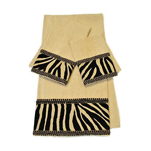 3 Piece Multi Holiday Zebra Stripe Embellished Towel Set With 25 X 48 Inches Bath Towel, Black Gold Animal Print Braid Trim Flocked Bands Soft Cozy Comfortable Trendy Sophisticated Decorative, Cotton by PH