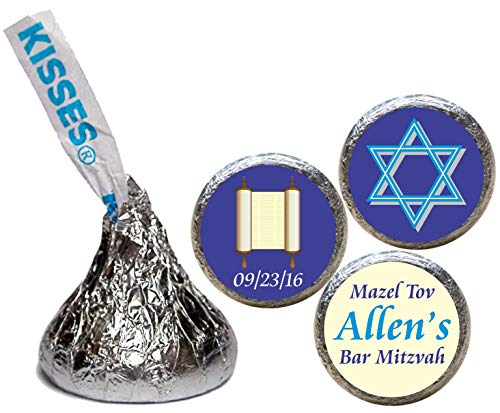 Bar or Bat Mitzvah Stickers for the bottom of chocolate Kisses (set of 108)(RTorSofD)