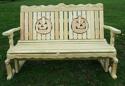 4 Ft Pressure Treated Pine Designs Unfinished Pumpkin Cutout Outdoor Glider Bench
