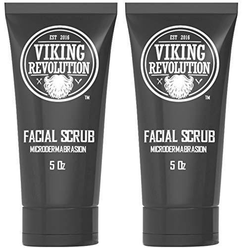 BEST DEAL Microdermabrasion Face Scrub for Men - Facial Cleanser for Skin Exfoliating, Deep Cleansing, Removing Blackheads, Acne, Ingrown Hairs - Men's Face Scrub for Pre-Shave (2 Pack) by Viking Revolution