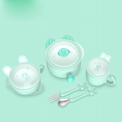 LMIB Cubiertos para Niños Cubos Aislantes Cuenco para Bebés Cuencos para Bebés Gota de Gota de
