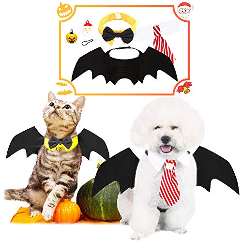 Pet Video Costume Suit Kitty Puppy Cool Bat Wing Necktie Bow Tie with Pumpkin Santa Claus Bells for Small Dog Cat Cloth Grooming Apparel
