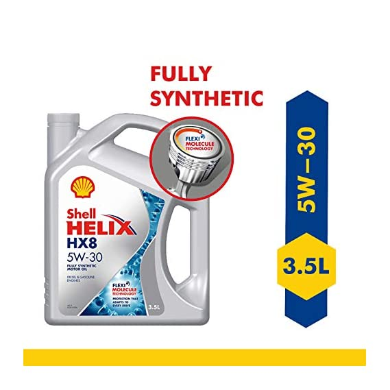 Shell Helix HX8 5W-30 API SN Plus/SN, ACEA A3/B4 Fully Synthetic Engine Oil for Cars (3.5 L)