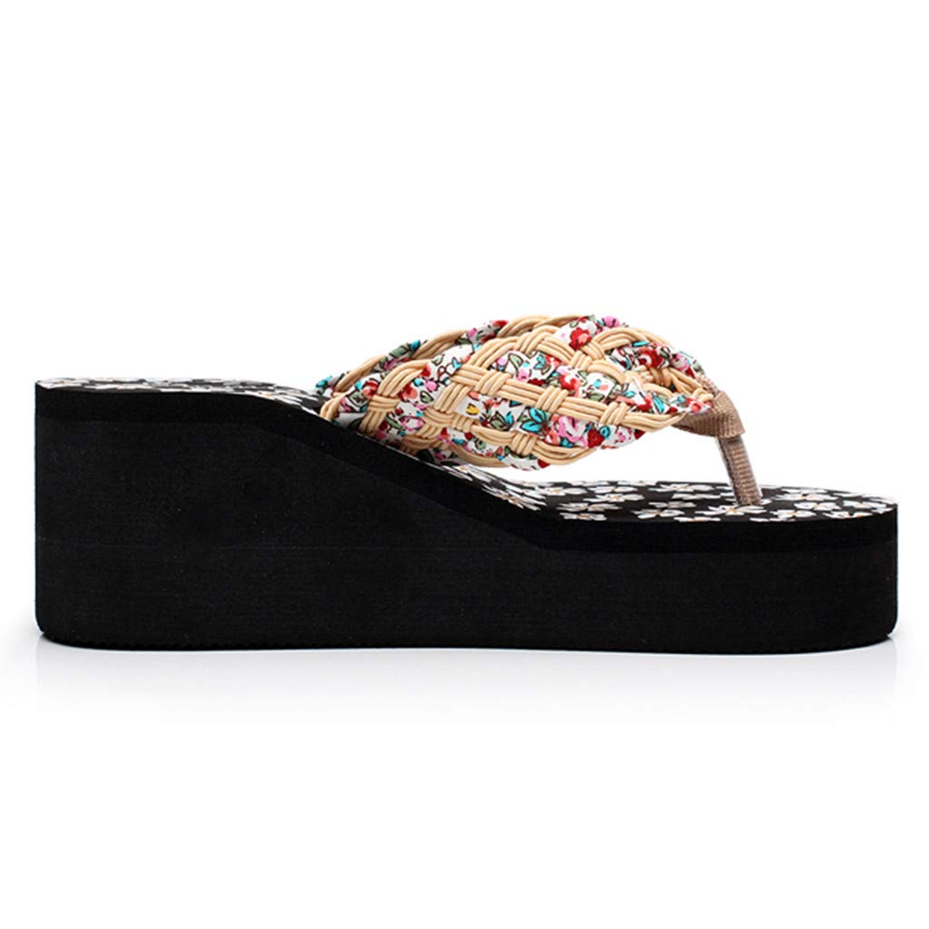 Women Wedges Floral Sandals NDGDA Flip Flops Sandals Slippers Beach Shoes